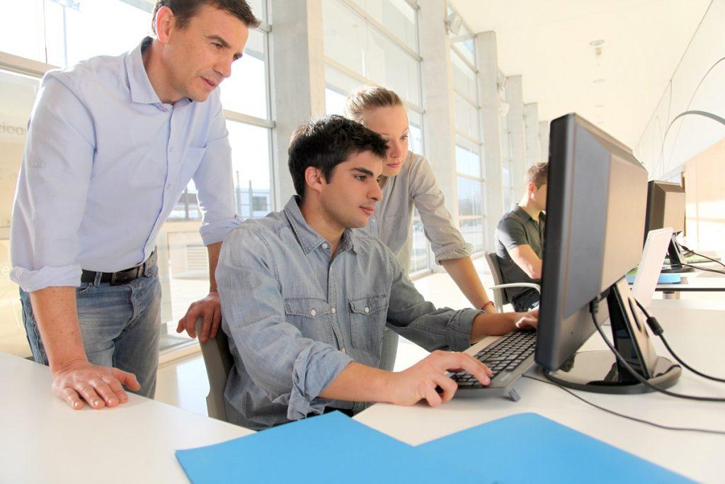 Senior employees surpervising at work