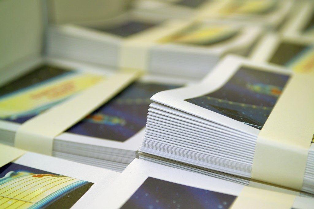 Bundles of brochures
