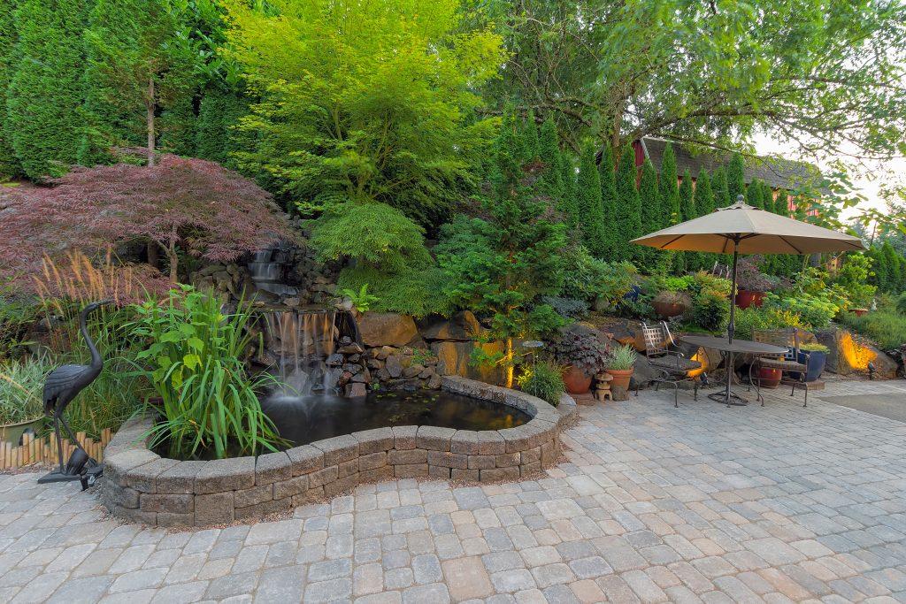Hardscaped garden in the backyard