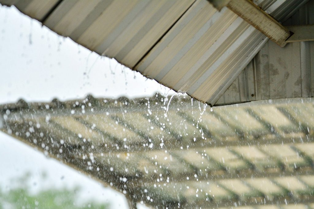 Rain on the corrugated roof