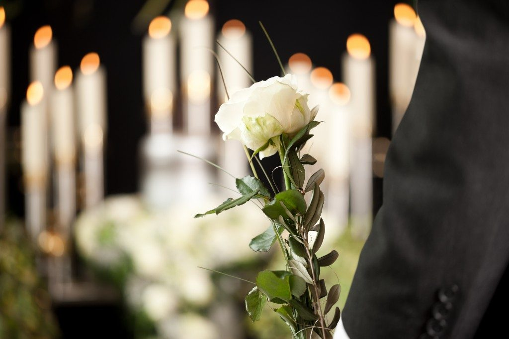 White rose at a funeral