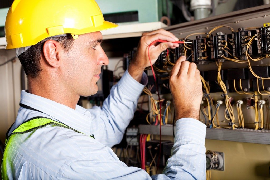 Male electrician working