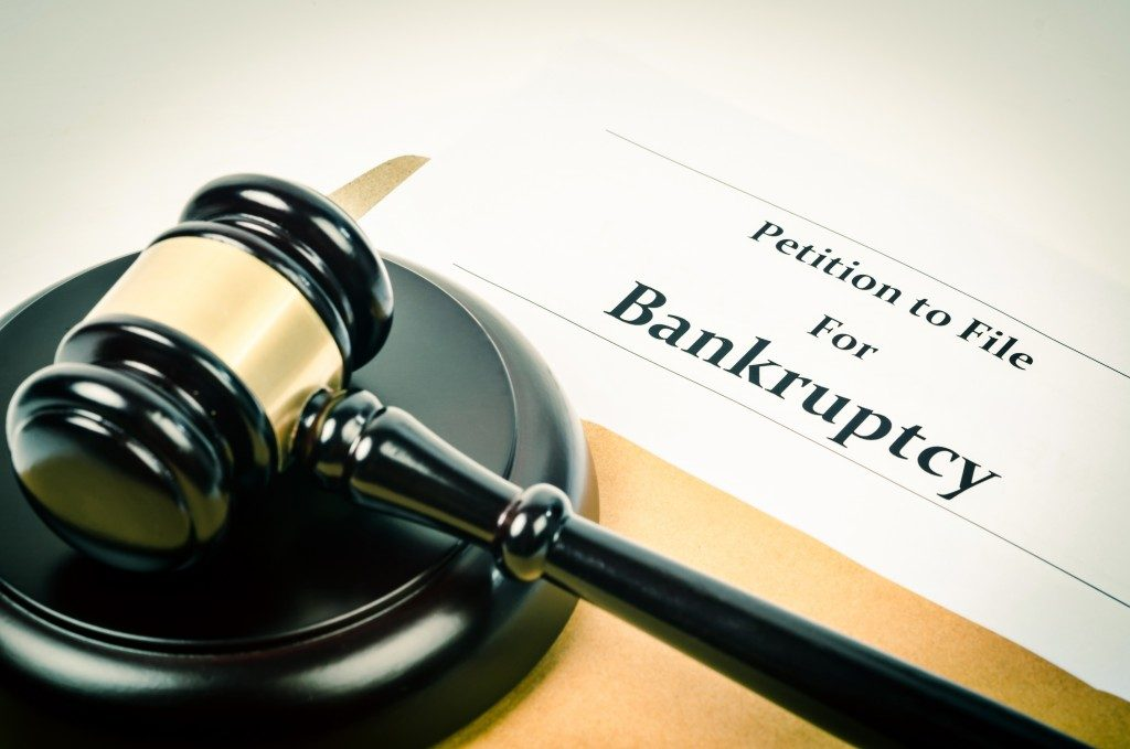 A gavel and bankruptcy form