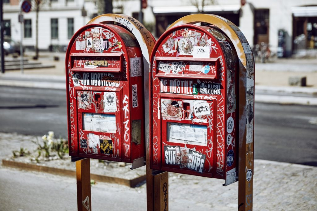 2 red mailboxes
