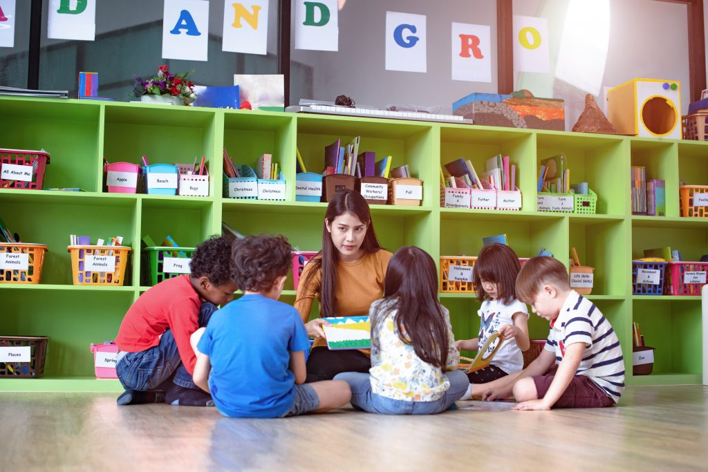 Children with their teacher at a kindergarten