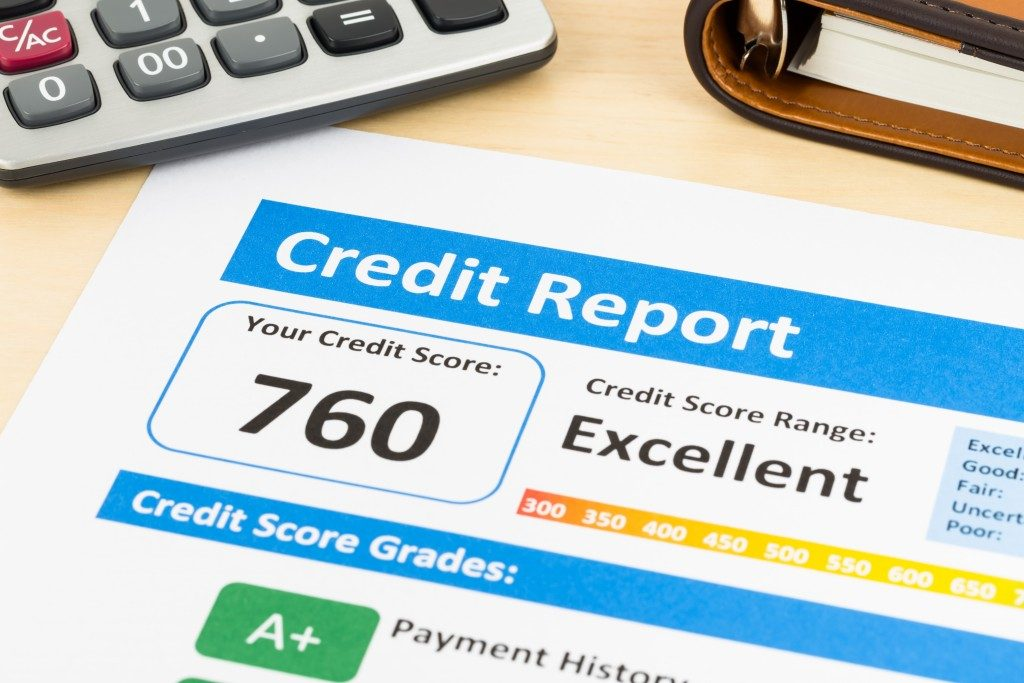 Credit score report with calculator and organizer book