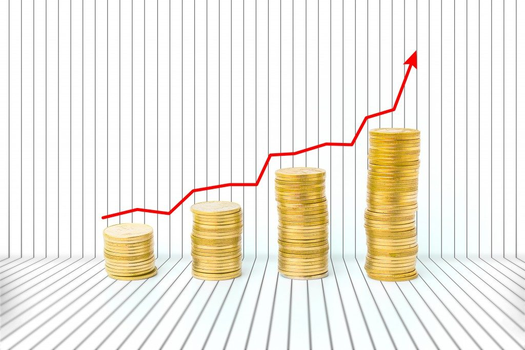 Graph showing an increase in wealth