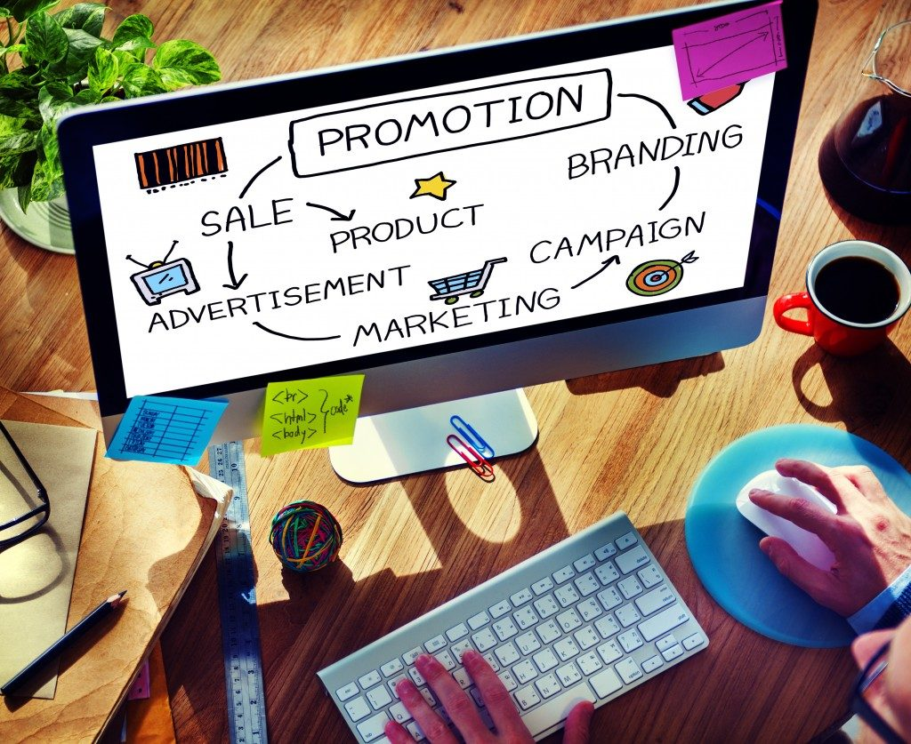 Promotion Advertisement Sale Branding Marketing Concept on computer