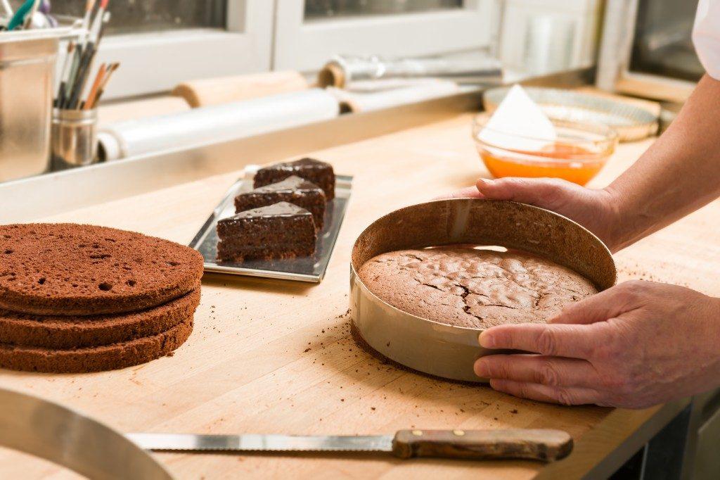 Man baking a cake