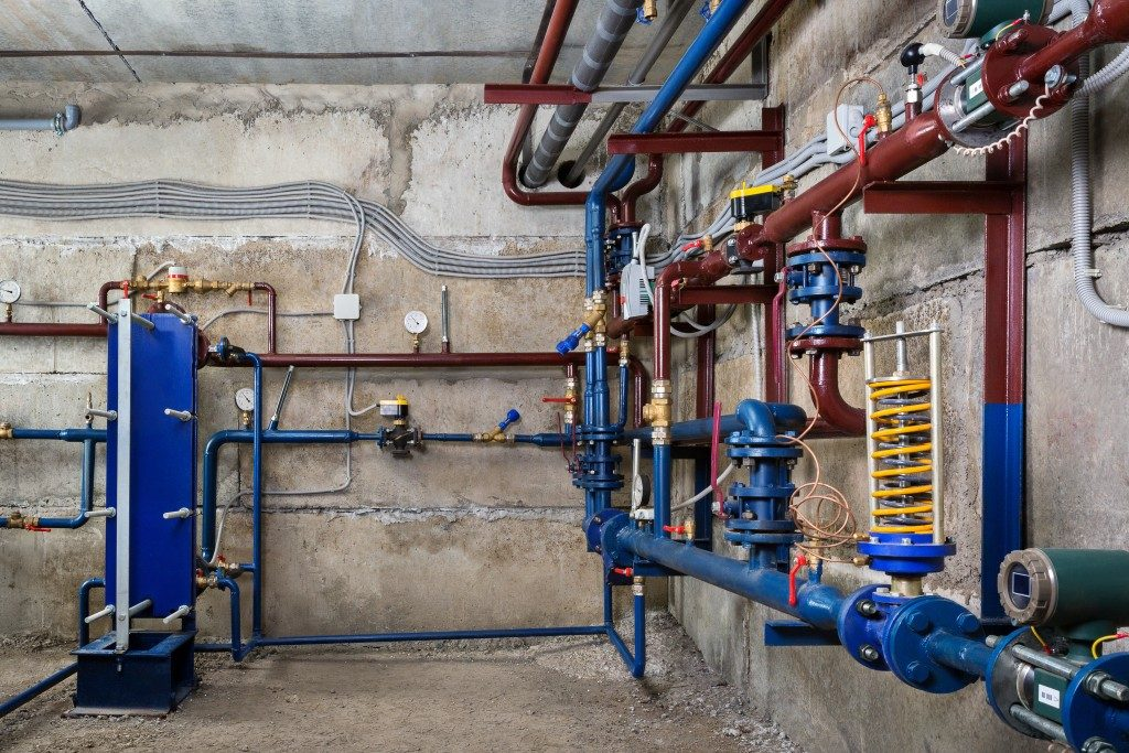 pipes and pump on the basement
