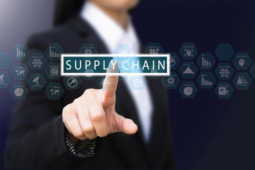 man pressing on supply chain