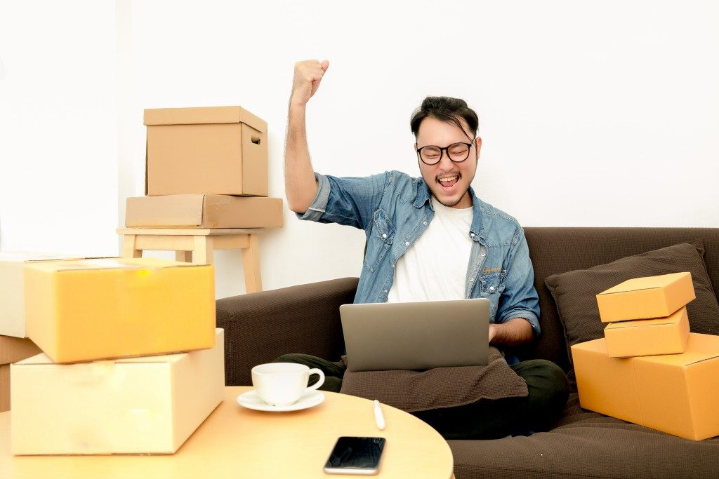 Man with ecommerce business